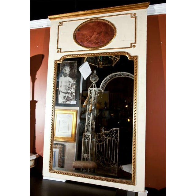 White Painted & Parcel-Gilt French Trumeau Mirror For Sale - Image 4 of 10