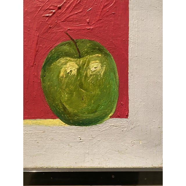 "Canvas Original Self-Portrait by Artist Roman E. Johnson, ""Self-Portrait With Green Apples"" (1984) For Sale - Image 7 of 10"