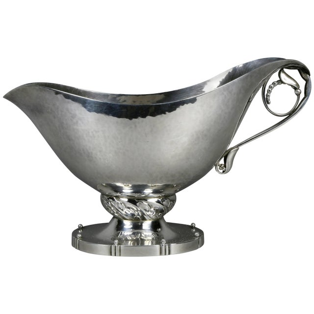 Silver Georg Jensen Sterling Blossom Pattern Sauce Boat For Sale - Image 8 of 8