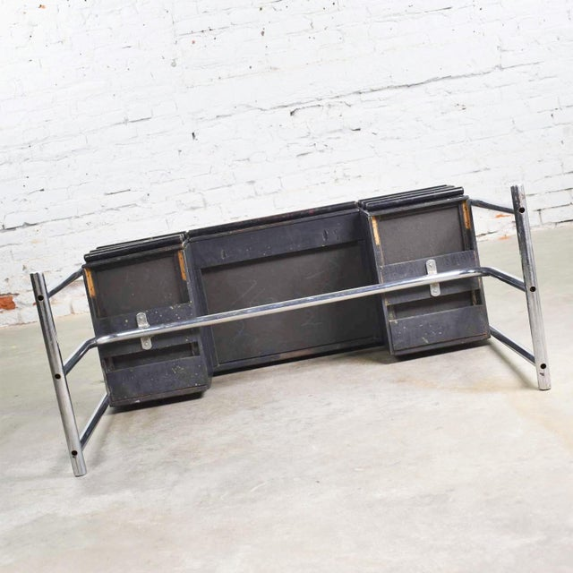 Art Deco Machine Age International Style Chrome & Black Desk Gilbert Rohde Attribution For Sale - Image 12 of 13