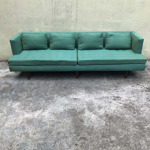 Beautiful all original long 4907A sofa designed by Edward Wormley for Dunbar. It has its original Knoll fabric with newer...