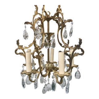 1920s Antique French Ormolu 5-Light Crystal Chandelier For Sale