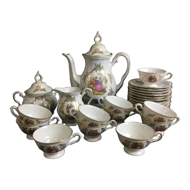 Bavaria Porcelain Demitasse Courting Couple Tea Set For Sale