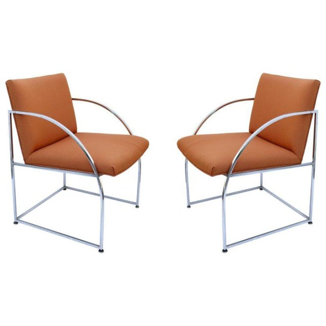 Chrome-Framed Pair of Chairs by Milo Baughman for Thayer Coggins For Sale In Los Angeles - Image 6 of 6