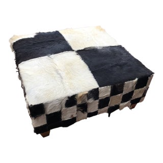 Boho Chic Checkered Cowhide Ottoman Footstool For Sale