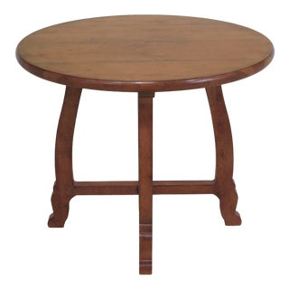 Henredon Round Maple Distressed Finish Occasional Table For Sale