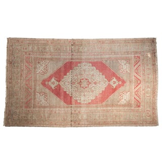"Vintage Distressed Oushak Carpet - 5'1"" X 8'8"" For Sale"