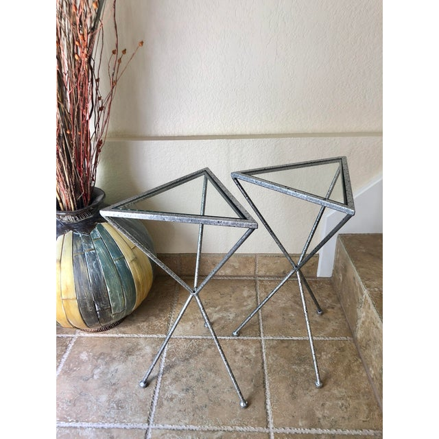 Uttermost Modern Iron & Tempered Glass Tripod Accent Tables - a Pair For Sale - Image 13 of 13