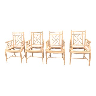 1970's Century Furniture Chippendale Faux Bamboo Arm Chairs - Set of 4