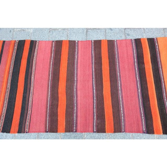 Turkish Floor Orange Stripe Kilim Rug - 4' x 2' 7'' - Image 4 of 11