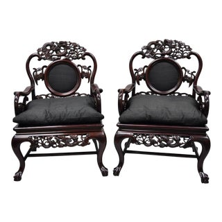 Late 20th Century Vintage Oriental Dragon Carved Rosewood Lounge Throne Chair- A Pair For Sale