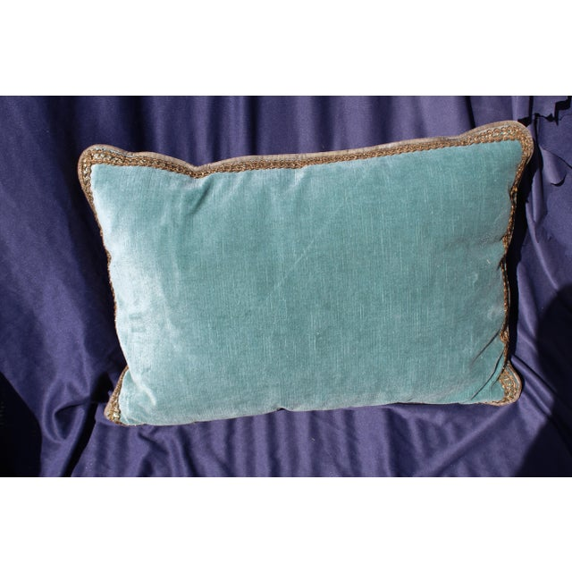Late 20th C. Blue Silk Velvet Chair Cushion For Sale In San Diego - Image 6 of 6