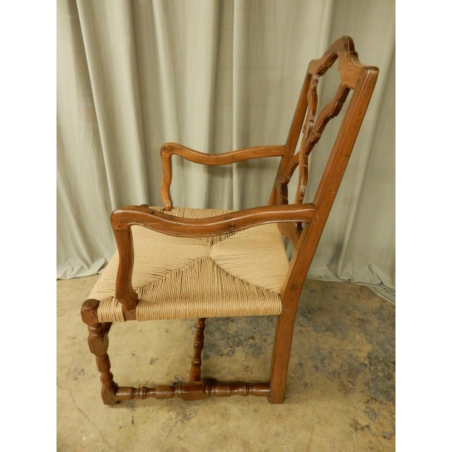 French Provincial 19th Century French Provincial Armchair W/Rush Seat For Sale - Image 3 of 6