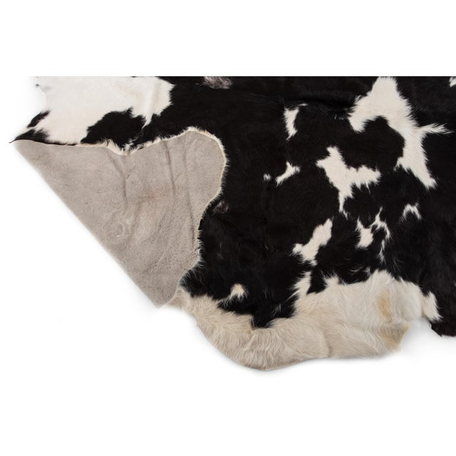 White Handmade Black & White Cowhide Area Rug - 6′ × 7′ For Sale - Image 8 of 8