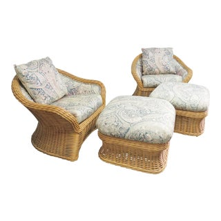 Ficks Reed Wicker Club Chairs & Ottomans - 4 Pieces For Sale