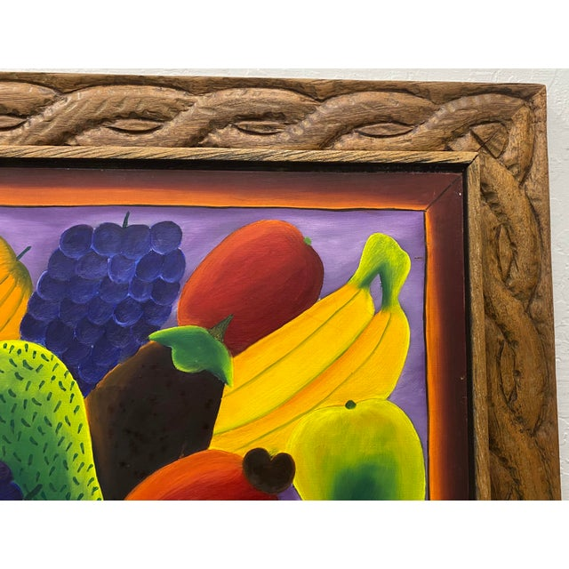 """Haitian Artist Alberoi Bazile """"Fruit"""" Still Life Oil Painting in Hand Carved Frame C.1970 For Sale - Image 4 of 13"""