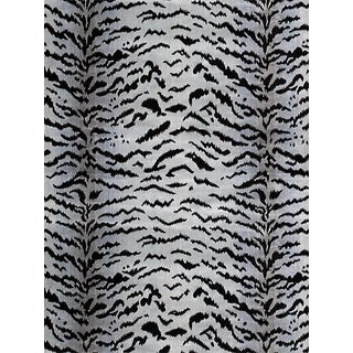 "Sample, Scalamandre Tigre, Silver & Black Fabric, Repeat 32""L x 26""W For Sale"