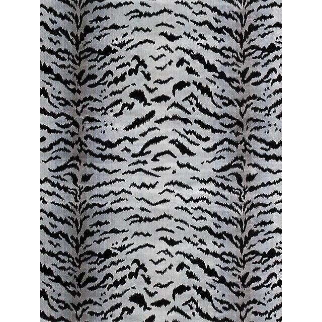 """Sample, Scalamandre Tigre, Silver & Black Fabric, Repeat 32""""L x 26""""W For Sale"""