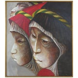 Image of Mexican Artist Mario Lopez Cano Oil Painting on Canvas For Sale