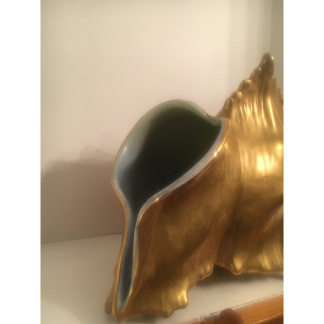 Mid-Century Modern Ceramic Water Gilt Conch Shell Planter For Sale - Image 3 of 6