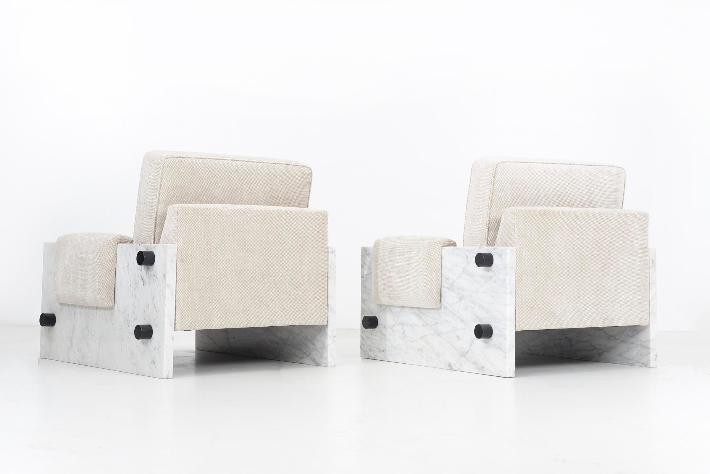 Pair Of Marble Chairs In The Style Of Ettore Sottsass   Image 4 Of 11