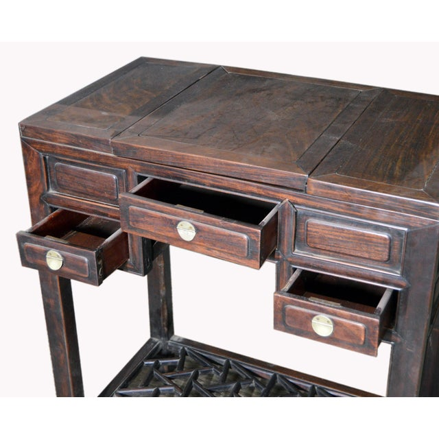 Chinese Vintage Dark Lacquered Wood Dressing Table With Mirror and Drawers For Sale In New York - Image 6 of 8