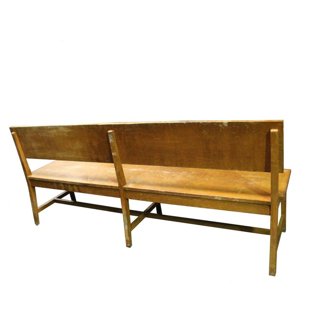 Set of Six Long Wooden Benches For Sale - Image 4 of 5