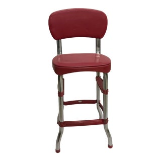 Vintage Industrial Red Metal Bar Stool by Stool For Sale