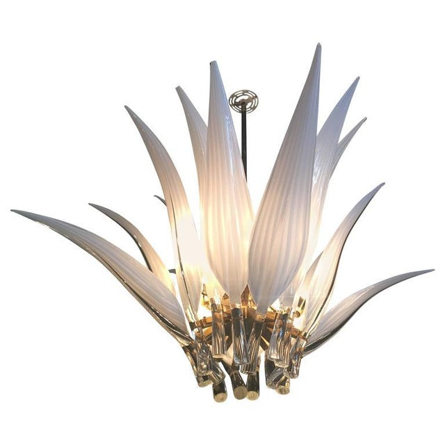 White Murano Glass & Brass Italian Leaf Chandelier For Sale - Image 8 of 8