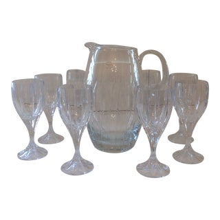 Late 20th Century Block Crystal Crystal Goblets and Pitcher - Set of 8 For Sale