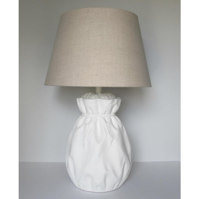 John Dickinson-Style Draped Plaster Rope Cinched Lamp For Sale - Image 13 of 13