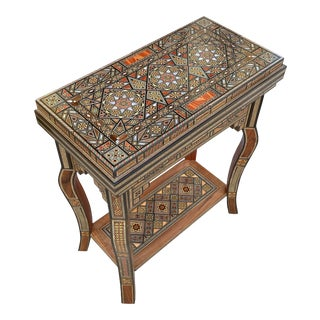 1990s Moorish Marquetry Inlaid Folding Game Table For Sale