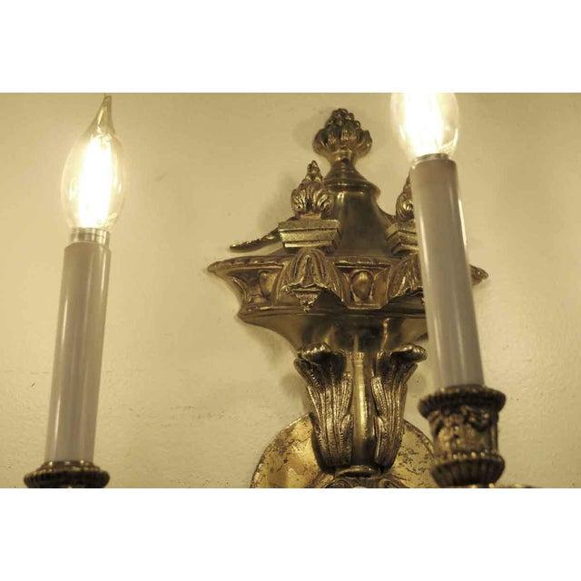Vintage Waldorf Astoria Heavy Bronze Sconce For Sale - Image 4 of 10