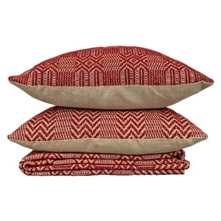 Set of Two Early American Pillows and Coverlet For Sale