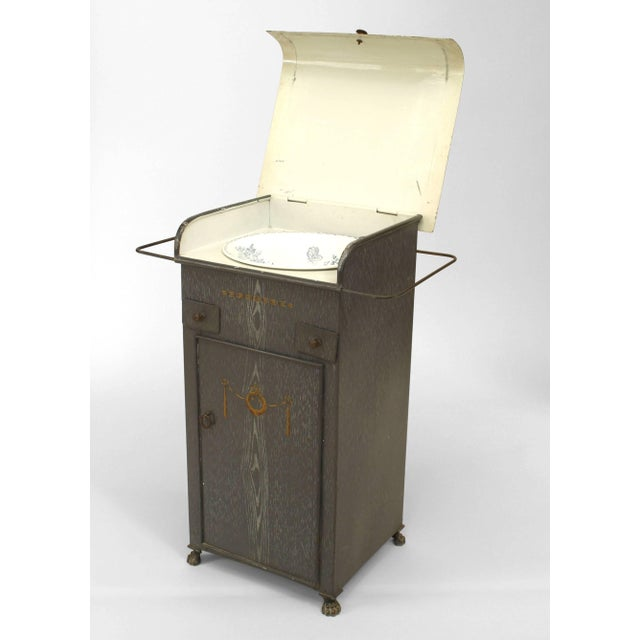 French Provincial Grey Faux Wood Painted Tole Washstand For Sale In New York - Image 6 of 6