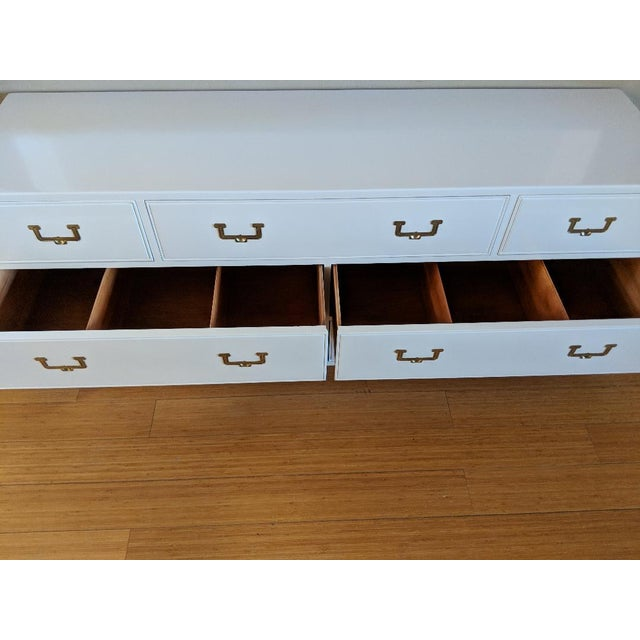 1960s Campaign Henredon High Gloss White Dresser Credenza Buffet For Sale - Image 10 of 12