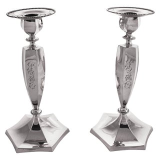 Sterling Candlesticks, Circa 1901 For Sale