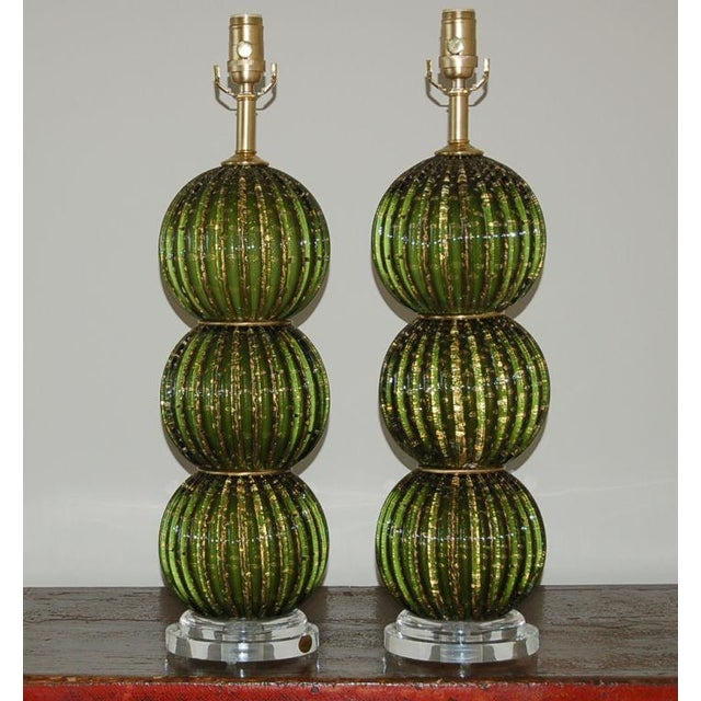 Vintage Venetian glass table lamps in DARK GREEN. Stacked 3 ball design with loads of controlled bubbles and GOLD dust....