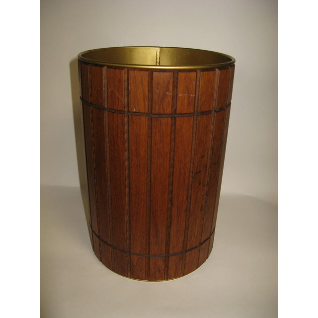 "Genuine Americ a Walnut Gruvwood Accessory Waste Basket featured at 1964 New York World's Fair in the ""House of Good..."