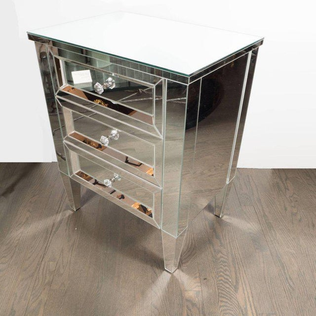 Hollywood Regency Contemporary Directoire Style Custom Mirrored Nightstands with Three Drawers - a Pair For Sale - Image 3 of 10