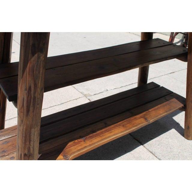 Rustic Bench/Shelf Signed Habitant - Image 4 of 7
