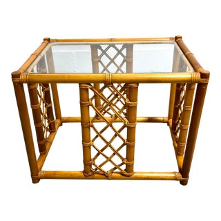 Vintage Bamboo Rattan Glass Top Side Table For Sale