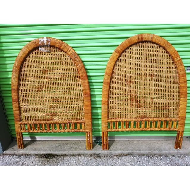 Wood Boho Chic Handwoven Bamboo & Rattan Cane Twin Headboards - a Pair For Sale - Image 7 of 13