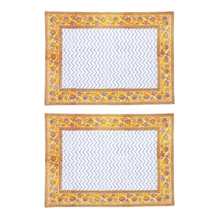 Juhi Chevron Placemats Yellow - A Pair For Sale