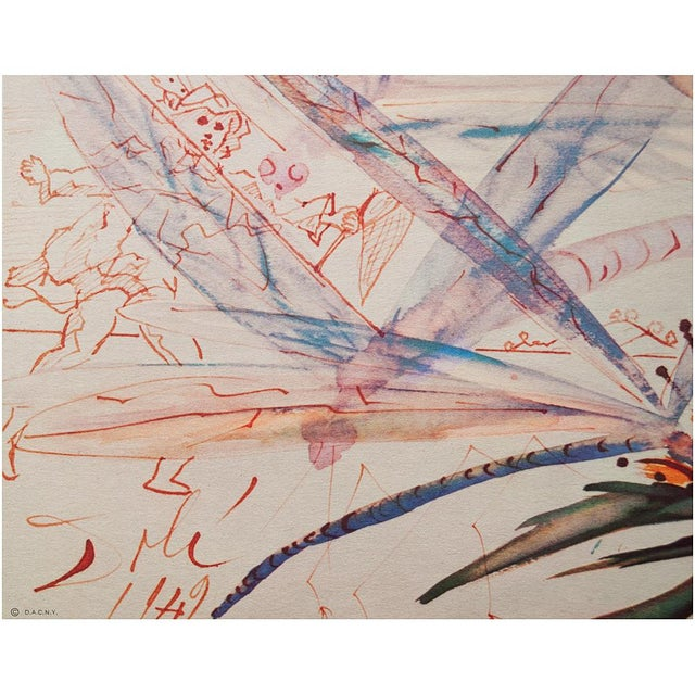 Lithograph XL 1954 Dali, Dragonflies Original Period Lithograph From From the Mrs. Albert D. Lasker Collection For Sale - Image 7 of 13