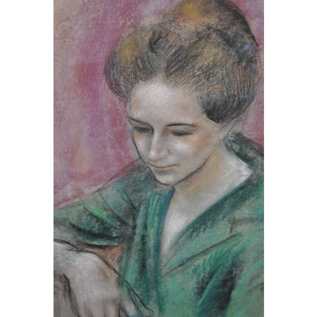 "Impressionism Dan Dickey ""Woman in Green"" Vintage Pastel Portrait c.1940s For Sale - Image 3 of 6"