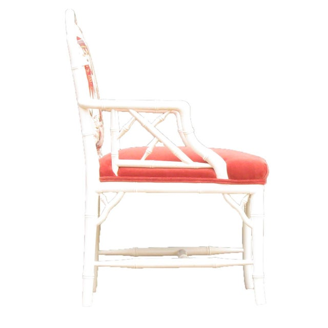 Mid 20th Century Faux Bamboo Chinoiserie Chairs in Coral & White, Pair For Sale - Image 5 of 8