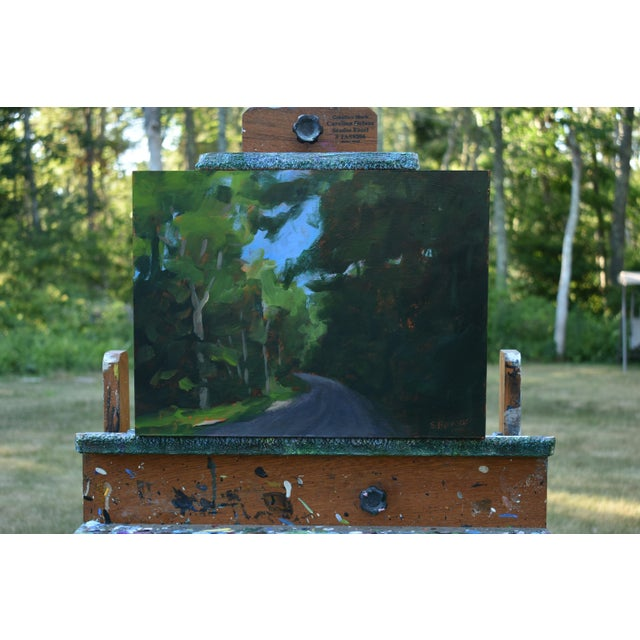 """Titled """"Gravel Road in Vermont"""". A common sight while driving on mountains in Vermont. Painted in 2018, this acrylic on a..."""