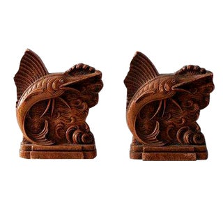 Vintage Sailfish Pressed Wood Bookends - a Pair