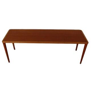 Swedish Mid-Century Modern Teak and Oak Narrow Coffee Table For Sale